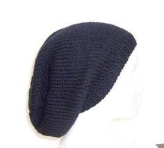 Knit hat black beanie slouch wool Beret Cap  size by CaboDesigns, $26.00