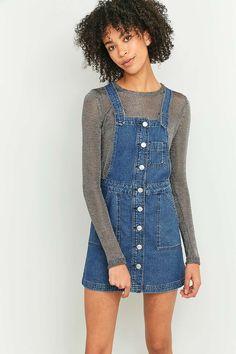 BDG - Robe chasuble boutonnée en jean bleu