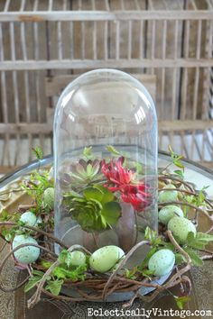 Add interest to a cloche by adding a wreath! Love this speckled egg twig wreath and the succulents eclecticallyvintage.com