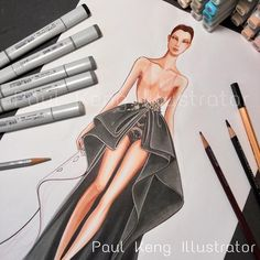 You can see every layer clearly #inspiration #fashion #fashionillustration #fashiondesign #designer #illustrator #artist #paulkengillustrator #workinprogress #tips #friday