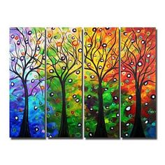 Items similar to TREES Seasons LIGHTS XXL Large Giclee Stretched Canvas Modern Abstract Landscape from Original Painting by Luiza Vizoli on Etsy Ship Paintings, Landscape Paintings, Abstract Landscape, Floral Paintings, Nature Paintings, Large Painting, Painting Prints, Four Seasons Art, Rainbow Art