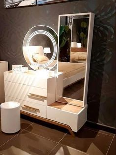 Dressing Table Storage, Dressing Table Design, Dressing Tables, Wood Bed Design, Bedroom Bed Design, Bedroom Color Schemes, Bedroom Colors, Desk For Girls Room, Temple Design For Home