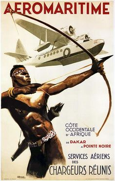 1950 Aeromaritime Airlines - French Africa - Travel Poster