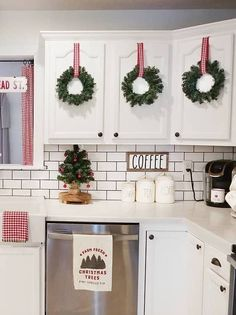 Christmas Wreaths on Kitchen Cabinets Donna White Christmas Kitchen Best Christmas Kitchen Decor IdeasChristmas in the Coastal KitchenFestive and Cozy Christmas Home Tour Homemade Christmas Decorations, Decoration Christmas, Farmhouse Christmas Decor, Country Christmas, Xmas Decorations, Christmas Holidays, Holiday Decor, Farmhouse Decor, Christmas Ideas