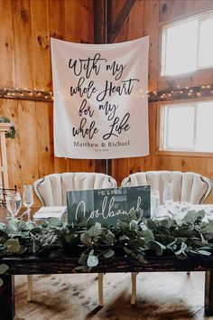Romantic Sweetheart Table Reception Banner With My Whole Heart For My Whole Life Wedding Decoration Backdrop #weddingreception #sweethearttable #countrywedding Small Wedding Decor, Indoor Wedding Decorations, Rustic Wedding Backdrops, Rustic Wedding Signs, Reception Decorations, Sweetheart Table Decor, Rustic Wedding Inspiration, Wedding Venues Texas, Whole Heart