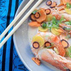 Bouillon thaï pour crevettes / Shrimps in a ginger and coconut Thai broth, La Cantine des cousins