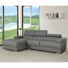 Top Product Reviews for Gabriel Leather Contemporary Sectional Sofa Set - Overstock.com - Mobile $1299.49 (reviews say small)