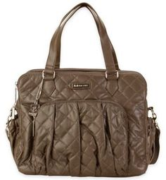 "Stylish quilted tote diaper bag in brown | Designer diaper bag with crossbody shoulder straps | Kalencom®️ Berlin Quilted Diaper Bag in Mocha | ""The sophisticated design of the Berlin Diaper Bag from Kalencom features a front pleat and elegant hand straps. The mocha design is ideal for formal occasions, but still fits in at a regular day at the playground."" {Ad}"