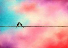 Love Birds on a Wire Art Print, Spring Decor, Blue Pink and Purple Wall Art, Colorful Bird Art Print, Minimalist Pastel Art Anniversary Gift