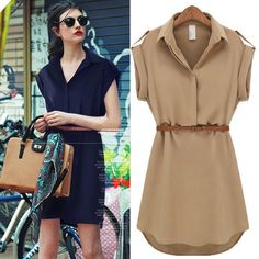 Summer Trendy Chiffon Lapel Solid Slim FF Short Sleeve Loose Mini Shirt Dress