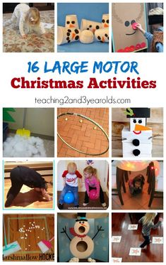 These Christmas large motor activities are fun and keep preschoolers' bodies moving! Would be fun for school or a party. #christmas #grossmotor #kidsactivity #preschool #AGE2 #AGE3 #AGE4 #AGE5