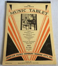 1933 The Carl Busch Music Tablet for Piano Students Jenkins Music Co USA Vintage