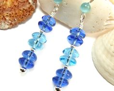 Blue Aquamarine Sapphire Glass Beaded Dangle by Glass Earrings, Beaded Earrings, Glass Beads, Drop Earrings, Beaded Jewelry, Aquamarine Blue, Sapphire, Handmade Jewelry Designs, Handmade Jewellery