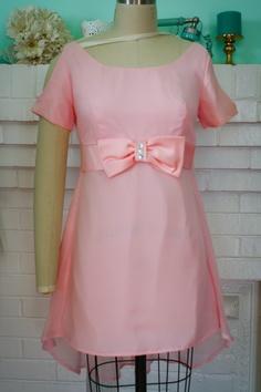 Revamped 1960s Mini Dress Tunic Top- Light Pink, Cutout sleeves, Hi-low ''mullet'' Chiffon Skirt-. $25.00, via Etsy.