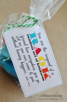 Random Acts of Kindness Cards - free printables.