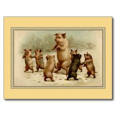Vintage dancing pigs postcards and greeting cards