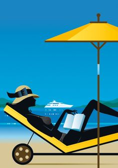Beach Art by Bo Lundberg. Pinturas Art Deco, Fashion Sketch Template, Woman Reading, Retro Art, Beach Art, Graphic Design Illustration, Vintage Travel, Travel Posters, Strand