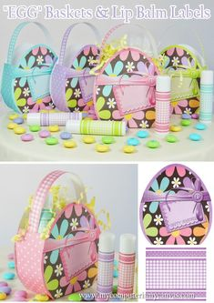 """Printable Easter """"EGG"""" Baskets... with matching lip balm labels. Perfect for an Easter Treat Bag or an Easter Egg Hunt favor!"""