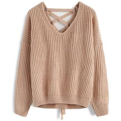 Chicwish Focus on Lace-up Back Sweater in Light Tan (€34) ❤ liked on Polyvore featuring tops, sweaters, brown, laced up top, lace front top, lace tie up top, tan top and lace front sweater