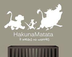 Wall Decal Vinyl Sticker Decals Art Decor Design Sign Quote Hakuna Matata Timon Pumba Kids Lion King Bedroom Dorm Nursery (r1239)