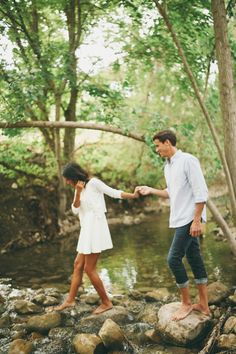 Walking through the woods by the creek together is the best