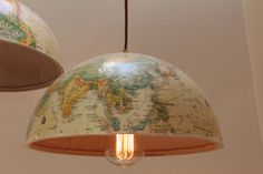 WORLD GLOBE Lights -  2 Hanging Light Fixtures, 2 30W Edison Bulbs, Bronze Cord, 2 Pendant Light Kits. $119.99, via Etsy. - ADORABLE IDEA! COULD DIY!
