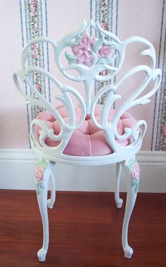 Vintage White Scrolly Boudoir Vanity Chair door pinkchicboutique