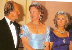 King Juan Carlos of Spain, Queen Margrethe II of Denmark and Queen Sofia of Spain