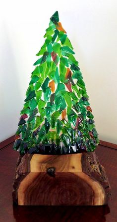 Fused Glass Woodsy Tree With Live Edge Walnut Base Christmas Tree Contoured Glass Greens Amber Violet