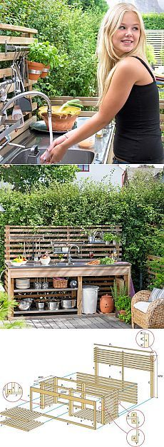 Summer kitchen with your own hands – very simple … - Garden Design Ideas Garden Sink, Garden Shower, Garden Table, Outdoor Sinks, Outdoor Kitchen Sink, Summer Kitchen, Outdoor Projects, Outdoor Ideas, Garden Paths
