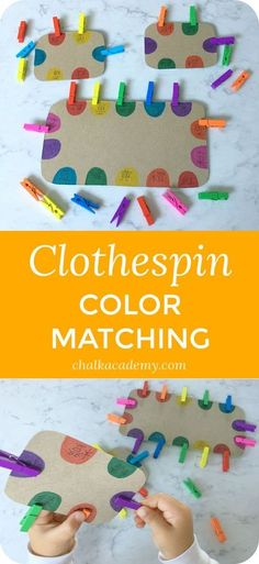 Montessori Inspired Clothespin Color Matching Fine Motor Skills Activity viaClothespin color matching is one of my daughter's favorite activities at age 3 and 4 years. It's a great way to exercise fine motor skills while practicing Chinese character recog Motor Skills Activities, Toddler Learning Activities, Montessori Activities, Infant Activities, Fine Motor Skills, Preschool Activities, Kids Learning, Color Activities For Toddlers, Free Preschool
