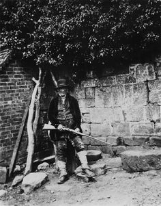 Gamekeeper at Lacock Abbey, c 1830s. Calotype.