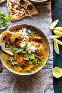 30 Minute Coconut Milk Braised Chicken with Sweet Potatoes and Rice. This 30 Minute Coconut Milk Braised Chicken with Sweet Potatoes and Rice is a fusion of Thai and Indian flavors. The perfect bowl of warming comfort food! Indian Food Recipes, Asian Recipes, Healthy Recipes, Carrot Recipes, Rib Recipes, Tofu Recipes, Oven Recipes, Noodle Recipes, Cauliflower Recipes