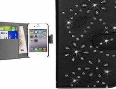 GoldStar  Diamond Glitter Wallet Book PU Leather Case Cover with Card