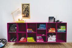 purple bookshelf