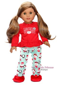 Christmas Holiday Santa Pants Pajamas and Cozy Red Slippers for 18-inch American girl doll clothes at Meandmyprincess.com