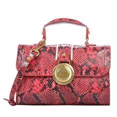 Bolsa de couro com textura cobra clássica na cor rosa chiclete - Jorge Bischoff