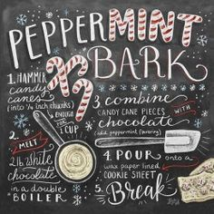 Items similar to Christmas Wall Decor - Christmas Kitchen - Peppermint Bark - Christmas Decoration - Chalkboard Art - Chalk Art - Kitchen Sign on Etsy Chalkboard Print, Chalkboard Signs, Chalkboards, Chalkboard Ideas, Kitchen Chalkboard, Deco Pastel, Cocoa, Lily And Val, Deco Marine
