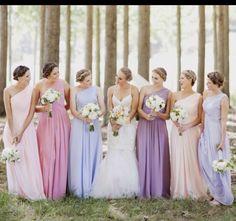 love the pastel colours. bridesmaid dresses. wedding.