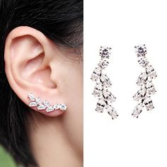 EVERU CZ Vine Jewelry Sweep Wrap Bling Silver Cute Leaf Ear Cuff Stud Earrings ** See this great product.