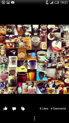 Coffee Collage/ Mug Day Photo Wall, Collage, Tea, Mugs, Coffee, Tableware, Desserts, Google Search, Breakfast