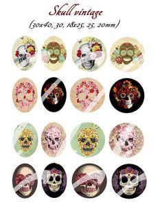 40 images digitales skull vintage pour cabochon 30x40, 30, 25,18x25,20mm : Images digitales pour bijoux par liciah