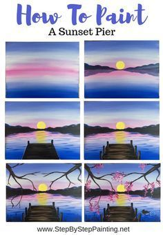 How To Paint A Sunset Lake Pier - Step By Step Painting, #lake #nightskypaintingacrylic #nightskypaintingeasy #nightskypaintingeasystepbystep #nightskypaintingtutorial #nightskypaintingwatercolor #paint #painting #pier #starrynightskypainting #Step #sunset Acrylic Painting For Beginners, Simple Acrylic Paintings, Acrylic Painting Tutorials, Step By Step Painting, Beginner Painting, Painting Tips, Abstract Paintings, Oil Paintings, Painting Art