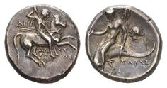 ITALY, CALABRIA, TARENTUM, AR DIDRACHM (20MM, 6.24G) 272-240 BC, ARISTOKLES MAGISTRATE Italy, Calabria, Tarentum, AR Didrachm (20mm, 6.24g) 272-240 BC, Aristokles magistrate Nude young man on horseback right, holding spear and shield; ΔI to left, APIΣTOKΛHΣ below TAPAΣ;Taras on dolphin left, holding kantharos and trident; to right, head of nymph l. Vlasto 877; VF, toned