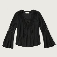 Abercrombie & Fitch Lace up Peasant Top ($68) ❤ liked on Polyvore featuring tops, blouses, black, bohemian style tops, laced tops, bohemian tops, boho peasant blouse and boho blouse