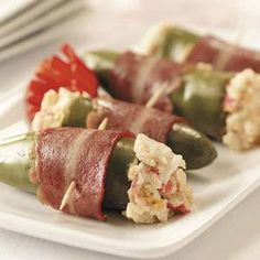 Crab-Stuffed Jalapenos: (I used 4 oz cream cheese, softened; 3+oz can lump crab; 2t worcestershire; 1/2 tsp garlic powder; 1/2 c fine shred cheddar; lots of chopped chives; dash UE seasoning salt.)