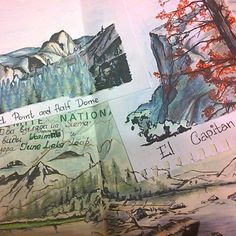 Yosemite page from travel journal by mila_hofman