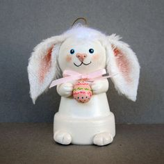 Easter Bunny Flowerpot Bell Ornament by sanquicreations on Etsy, $8.99