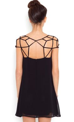 Mini Vestido gasa hombro hueco-Negro