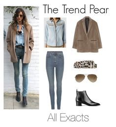 """""""The Trend Pear: Double Denim"""" by thetrendpear-eleanor ❤ liked on Polyvore featuring Yves Saint Laurent, AllSaints, rag & bone, Acne Studios and Ray-Ban"""